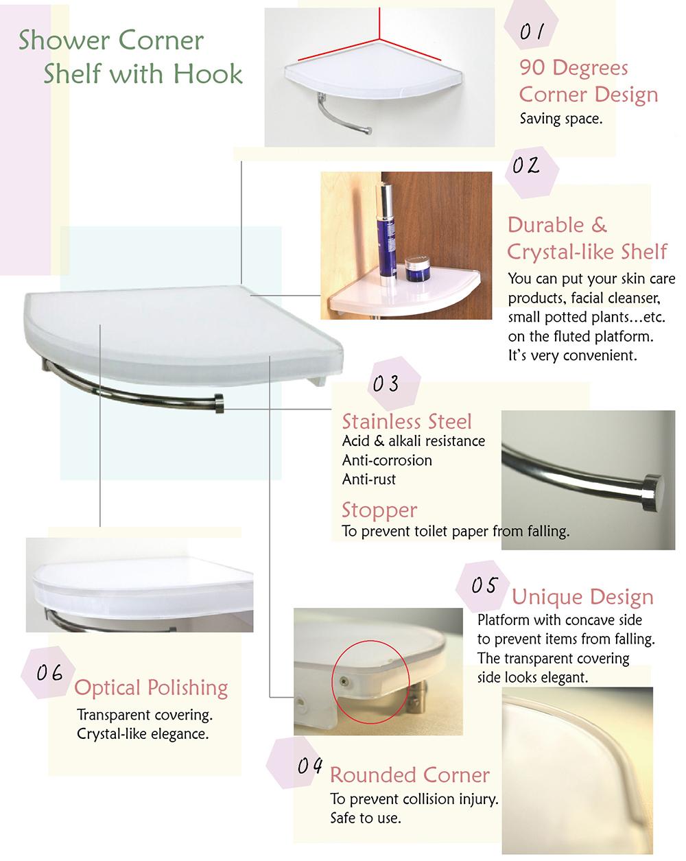 Ba10630 Shower Corner Shelf With Hook